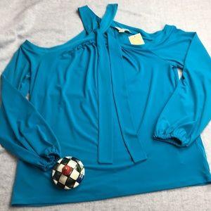 Michael Kors Teal Blue Off the Shoulder Knit Top
